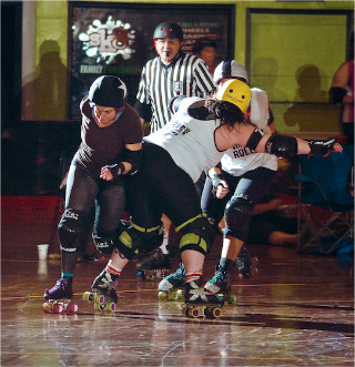 Mary Hendrie with Charm City Rollers roller derby photo by Pablo Raw