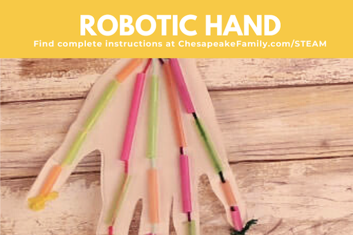 Robotic hand made of paper and straws