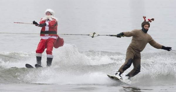 waterskiing santa