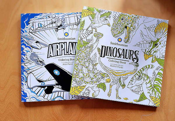 Smithsonian coloring books, dinosaurs and airplanes