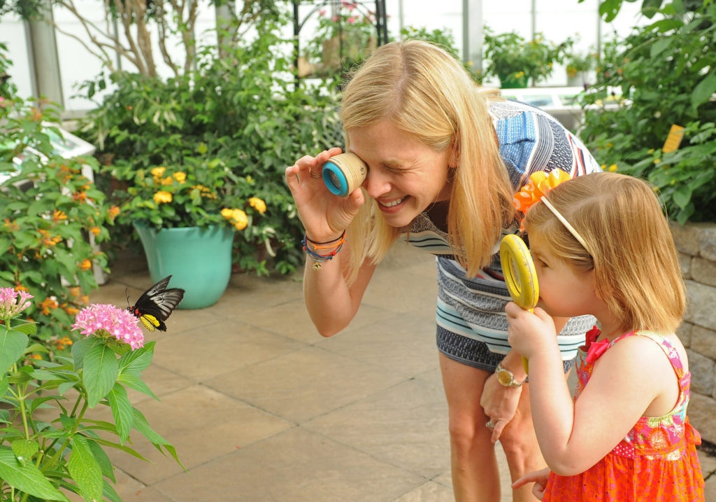 mother and daughter looking at plants at Lewis Ginter Garden